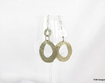 Tribal hoop earrings, long hammered hoops, modern metal jewelry, gift under 45