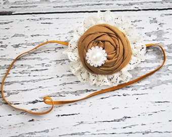 Graced with Lace- single mustard ochre pink rosette with ivory lace headband