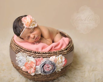 Pure Bloom- singed satin flower, rosette and chiffon flower headband and sash set in taupe coral and peach