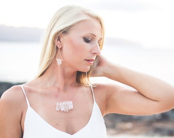 Quartz Pendant Bib Necklace with Gold Filled Chain - NG05