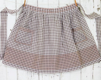 Unused Half Apron Vintage - Brown and White Gingham - Cross Stitch Detail- 1950's