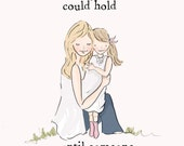 Mother and Daughter Wall Art -Mom and Daughter Digital Art Print - Family -  Children's Wall Art -- Print
