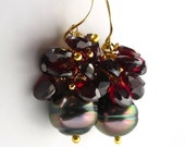 14K Solid Gold Tahitian Black Pearl Earrings