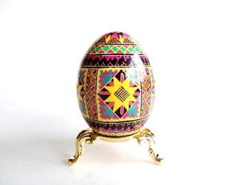 Yellow and Pink Flowers Pysanka, batik decorated Ukrainian Easter egg,bright colors for Easter eggs,DIY Easter decorations,make your own egg
