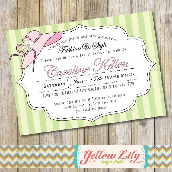 Pink and Green Garden Hat Party Bridal Shower Invitation Big