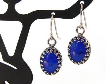 Custom Gemstone Cabochon Sterling Silver Crown Earrings
