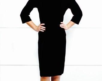 Vintage 1950's Suzy Perette Black Velvet Dress