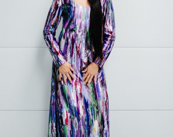 Vintage 1970s Multi Colored Psychedelic Printed Maxi Dress