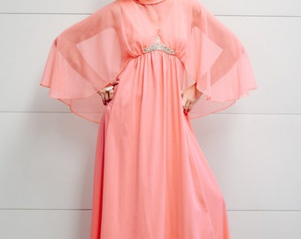 1970's Coral Pink Gown with Sheer Cape and Beaded Embellished Front