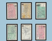Any 3 City Maps, Set of 3, 1950s Vintage Maps, Mid Century, Retro Street Maps, World Cities, Black and White, Green, Pink, Brown
