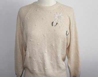 Cream Sweater with Bead and Pearl Flower Embellishment Size Small