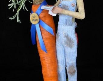 "OOAK  polymer clay art doll, ""Carrot Top"" farming pixie, fairy, sprite, garden gnome by Lori Platt of The Pixie Knoll"
