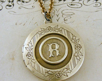Locket Necklace - Initial R - Letter R - Vintage Brass Jewelry - Personalized Necklace - ALL LETTERS - handmade jewelry Personalized Jewelry