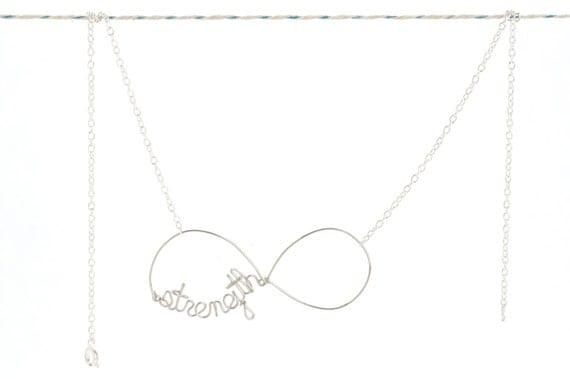 Eternal Strength Necklace - Silver Inspiational Wire Word Jewelry