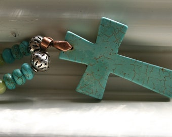 Turquoise Green River Rock Gemstone Boho Earthy Rustic Religious Christian Cross Sterling Silver Necklace