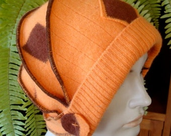 Womens Woollen Hat Cloche Flapper OOAK Beanie 1920s Chemo Headwear Autumn Orange Butternut Helmet