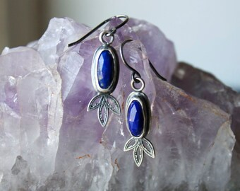 Rose Cut Lapis Lazuli, Sterling Silver, Delicate, Drop Earrings... Of Spirit & Vision...