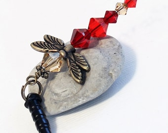 Crystal Dragonfly Charm - Woodland Mobile, Ruby Reds, Light Topaz Crystals, Dust Plug Charm, Brass Wings