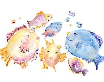 Kid's Bathroom Art, Fish Painting, Child's Bathroom Decor, Fish Watercolor, Print Watercolor Painting, Ocean Themed Bathroom, Bathroom Print
