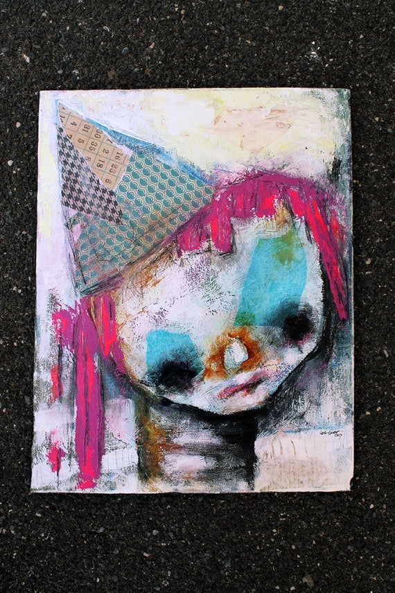 Girl Clown Portrait, Original Painting. Circus Girl. large acrylic painting, abstract portrait, Colorful wall art
