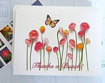 Floral Thank You Note Cards, Thanks a Bunch, Pink, Peach, Yellow, Gold Ranunculas, Set of 10, Blank Note Cards, Spring, Butterfly
