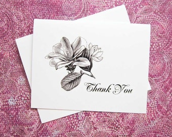 Magnolia Thank You Note Cards, Wedding Floral Note Cards, Set of Ten, Blank Inside, The South, Elegant Thank You Cards, Magnolia Blossom