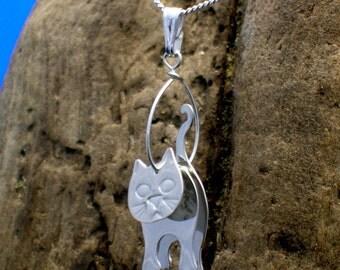 Sterling silver 3D Cat Pendant