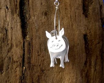 Silver Pig Pendant, 3D Pig Pendant, Sterling Silver Pendant, Pig Jewellery, Handmade, 925 Silver,Pigs.