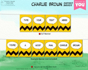 CHARLIE BROWN Inspired Banner - DIY Printable Peanuts Gang Banner // Print at Home Chevron Bunting // Comic Strip - Instant Download