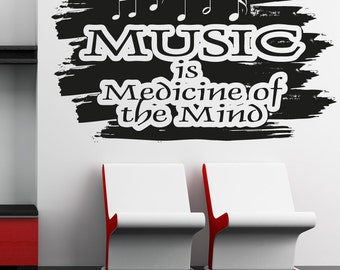 Vinyl Wall Decal Sticker Music is Medicine for the Mind OSAA1273s