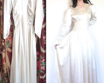 Vintage 1940's Dress // 40s White Satin Wedding Dress with Lace Cut Outs // 40s Deputante Party Dress