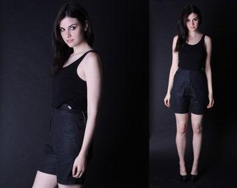 Black Vintage Shorts - High Waisted Shorts - Vintage Deadstock - 2872
