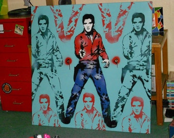 Elvis Presley stencil art painting,spray paints,Andy Warhol,pop art,custom,cowboy,icon,street art,music,rock & roll,large canvas,urban,King