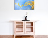 SUMMER BREEZE, 12x24 Acrylic Canvas, Home Decor Wall Art, Yellow and Blue Flower Petal Painting