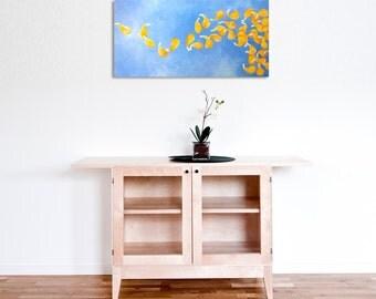SUMMER BREEZE, 12x24 Acrylic Canvas, Zen Wall Art, Yellow and Blue Flower Petal Painting