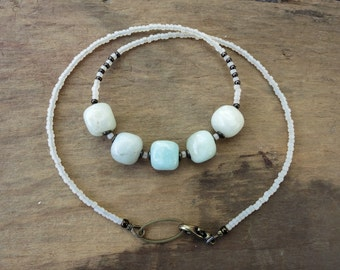 Light Blue Amazonite Necklace, Bohemian stone pebble jewelry in pale blue and white, rustic ocean inspired bead necklace