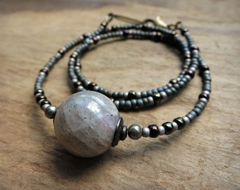 Labradorite Sphere Necklace, short Bohemian or tribal style gray labradorite bead jewelry with grey stone crystal sphere