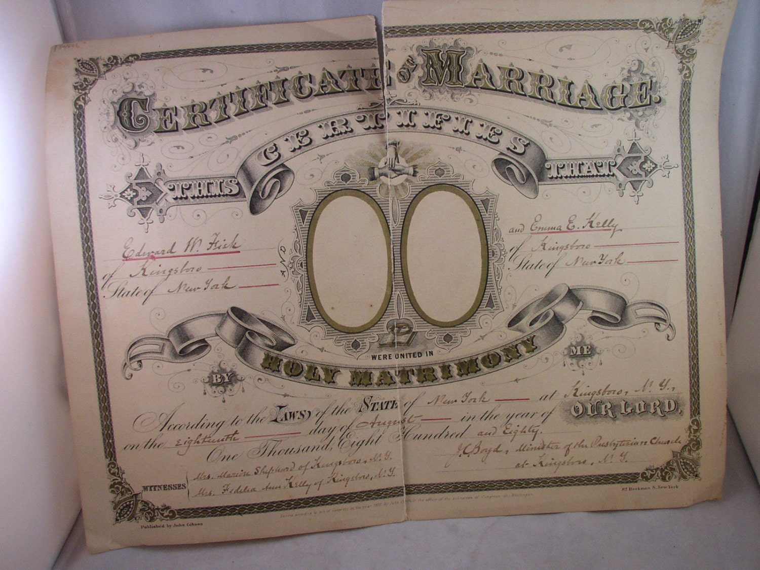 Vintage Marriage Certificate Washoe County Nevada: Antique Marriage Certificate 1880 Kingsboro NY Fisk Kelly