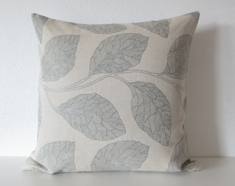 Esteem Greystone Pillow Cover - Foliage Leaf - Muted Gray Blue Decorative Pillow Cover