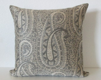 Gray champagne paisley throw pillow cover