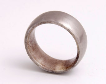 Men Antler Wedding Ring with Titanium Ring Comfort Fit