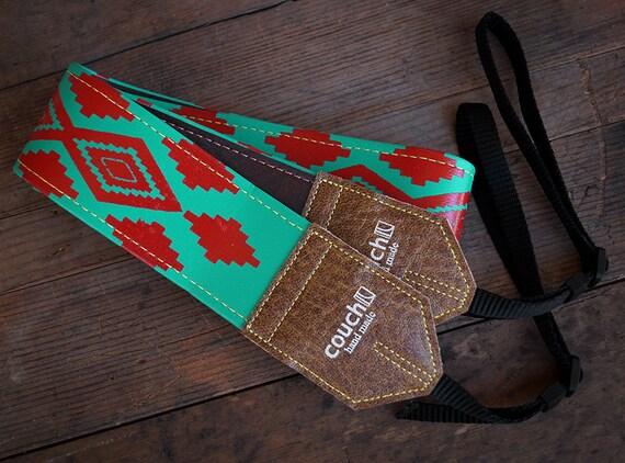Turquoise & Red Native American Camera Strap, Navajo Inspired, vegan,