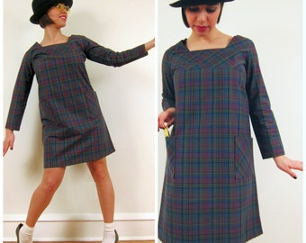 Vintage 1960s Plaid Dress / 60s A Line Dress in Blue Plaid / Small