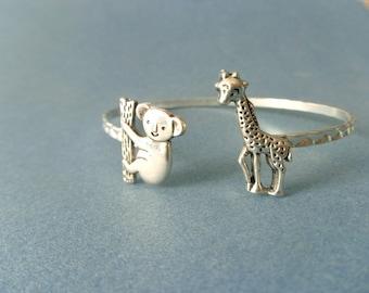 koala giraffe cuff bracelet, wrap style, animal bracelet, charm bracelet, bangle
