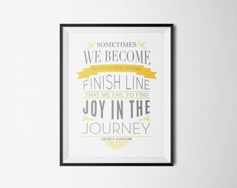 Mormon Quote Art Print Typography Motivational Inspirational Quote LDS Gray Yellow