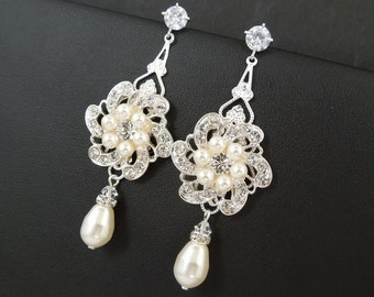 Bridal Pearl Earrings Chandelier Earrings ivory swarovski pearl Statement bridal earrings Pearl Bridal Earrings wedding earrings AMELIA