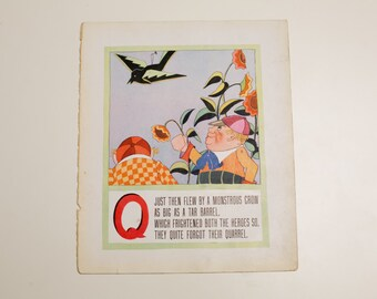 "Antique 1929 Letter ""Q"" Monogram Mother Goose Book Page, Tweedledum and Tweedledee, 9.75""x11.75"""