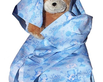 Baby Toile Blue Flannel Blanket, handmade toddler boy girl bear receiving swaddling blanky