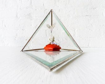 Cupid Love Rabbit - Antique Bisque Figurine - Quartz Crystal Skull - Glass Pyramid Case Embellished - Alice in the Wall