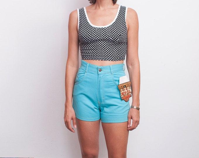 Dead stock Vintage Denim Shorts pastel blue high waist Size M